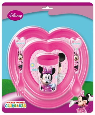 Joy Toy 734500 Minnie 2 Plastic Plates/Cup and Cutlery Tableware Set
