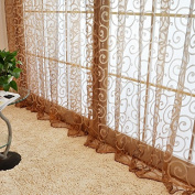 QHGstore New Floral Tulle Voile Door Scarf Valances Drape Sheer Window Curtains,It contains only window screening, not including curtains Brown