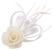 La Vogue Feather Satin Hair Accessory Fascinator Hair Clip Wedding Races Creamy