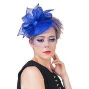 La Vogue Women Fascinator Hair Clip with Mesh Veil Wedding Party Clip Hat Sapphire Blue