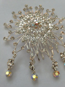AB and Clear Crystal Diamonte Cluster Haircomb