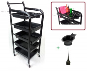 TekNoh 4S - Salon Storage Trolley - (High Gloss Black Finish) - ****with Free Colour Mixing Dye Tint Bowl & Brush**** - Hairdresser Barber Hair Beauty Drawers Spa Cart