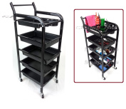 TekNoh 4S - Salon Storage Trolley - (High Gloss Black Finish) - Hairdresser Barber Hair Beauty Drawers Spa Cart