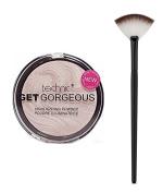 Technic Get Gorgeous Highlighting Powder 12g + LyDia® Small Black/White Fan Cheek/Blending/Contour/Highlighter/Bronzer/Dust Makeup Brush