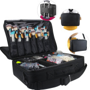 Travelmall 3 layer black 42cm *31cm *14cm Professional Makeup Train Case Cosmetic organiser Make Up Artist Box Adjustable Shoulder for Makeup Brush Hair style nail beauty tool fit on Trolley for Travel