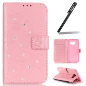 Samsung Galaxy S7 Edge Case,Samsung Galaxy S7 Edge Wallet Case,Samsung Galaxy S7 Edge Flip Case,Ukayfe Embossed Butterfly & Flower Painted Bling Diamond Rhinestone Shiny Premium Solid Pink Colour Pu Leather Wallet Magnetic Buckle Design Flip Folio Prot ..