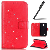 Samsung Galaxy S4 Case,Samsung Galaxy S4 Wallet Case,Samsung Galaxy S4 Flip Case,Ukayfe Embossed Butterfly & Flower Painted Bling Diamond Rhinestone Shiny Premium Solid Red Colour Pu Leather Wallet Magnetic Buckle Design Flip Folio Protective Case Cove ..