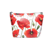 Ladies Womens Large Poppy Print Cosmetic Pencil Case
