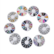 Biutee 10 Wheels nail art decor accessories Nail Rhinestones Premium Manicure Nail Art Decorations Total of 15000 Gems Nail Tools