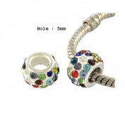 Dreadz Acrylic Silver (Light) and Rhinestone Hair Beads (5mm Hole) x 2 Bead Pack