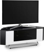 Centurion Supports Hampshire Corner-Friendly Gloss Black with White Contrast Beam-Thru Remote Friendly Door 70cm - 130cm Flat Screen TV Cabinet