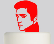 Elvis Presley Styled cake topper- Acrylic Cake Topper - Red Acrylic