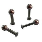 Black 2.0 mm or 2.5 mm Black Surgical Stainless Steel Labret Piercing - 2 Sizes - Ball Design