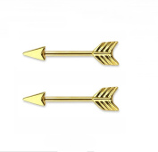 HYIdealism Nipple Ring Bars Gold Arrow Shape Body Piercing Jewellery Pair 14g Sold as pair