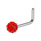 Curved Nose Stud Bar Ferido Ball - Red