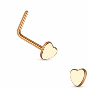 Nose Stud with Curved - Steel - Heart - Rose Gold