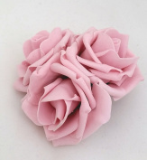 3 Vintage Pink Roses Cluster Artificial Hair Flowers Corsage Clip Hand Made in Uk