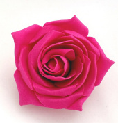 Fuchsia Pink Open Rose Artificial Hair Flower Clip Buttonhole Corsage by Fabulous Fascinators