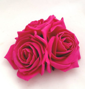 Large Fuchsia Pink Roses Cluster Artificial Hair Flowers Fasciator Clip Hand Made in Uk