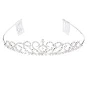 PIXNOR Wedding Bridal Rhinestone Crown Tiara with Comb