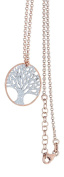 Hobra Gold Chain Ball Rose Gold Tree of Life Pendant and Chain Necklace