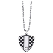 2Jewels Flag Pattern Grand Prix Necklace Tw. Stainless Steel Black Plated With Zirconia 50 cm 251437