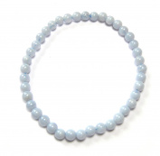 Chalcedony Bead Bracelet - Blue 4 mm