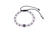 AoBei Pearl White Freshwater Pearls Bracelet Stretch Jewellery on Leather Cord