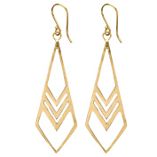 81stgeneration Women's Brass Gold Tone Geometric Pointed Long Dangle Earrings