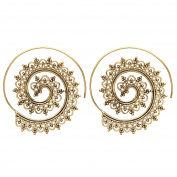 81stgeneration Women's Brass Gold Tone Indian Swirl Dotwork Spiral Ethnic Tribal Earrings