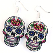 TFB - FUNKY LARGE WHITE DEATH MASK DEEP ROSE MEXICAN SUGAR SKULL EARRINGS GOTHIC RETRO GIFT