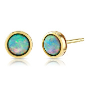 Opal Earrings, 9ct Gold, 5mm Round