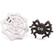TFB - FUNKY SPOOKTACULAR CREEPY CRAWLY SPIDER WEB & SPIDER SET STUD EARRINGS HALLOWEEN QUIRKY NOVELTY FUN GIFT