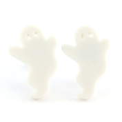 TFB - FUNKY SPOOKTACULAR SPOOKY WHITE GHOST STUD EARRINGS QUIRKY NOVELTY FUN GIFT