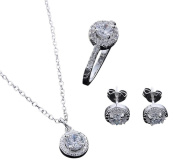 Unique 925 Silver Plated Crystal Necklace Earring Ring Jewellery Set