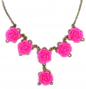 Bluebubble VINTAGE STYLE HOT PINK CARVED ROSE STATEMENT BIB NECKLACE