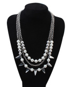 Pendant Faux Pearl Choker Chunky Statement bib Necklace Multi-Row Torsade Fringe White