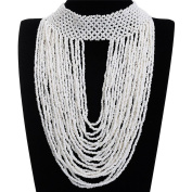 Kasle Resin Seed Multiple Layered Beads Cluster Pendant Choker Collar Chain Long Necklace White