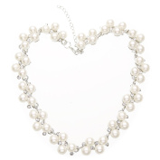 Kasle Silver Tone White Simulated Pearl Rhinestone Crystal Statement Choker Chain Necklace