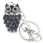 Quadiva Bag Charm Black Owl Pendant Necklace for Women (Colour