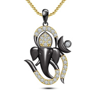 925 Sterling Silver Two Tone Plated Ganesha / Ganpati Pendant With 46cm Chain From Lilu Jewels