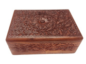 Wooden Jewellery Box Carving Work Rectangle Box, 8X6 Storage Box, Vintage Box.