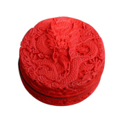 2 Pieces Of Chinese Style Dragon Pattern Carved Lacquer Jewellery Box