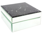 Black Marble and Mirror Jewellery Box