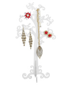 """SIX """"Gift"""" white jewellery tree stands with scrolls and birds, organisation & decoration"""