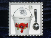 Poppy teabag tidy bucket with teabag squeezer tongs - Gift Boxed