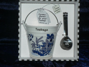 Blue willow teabag tidy bucket with teabag squeezer tongs - Gift Boxed