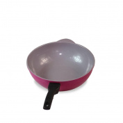 KK-UK-No fumes ceramic coating frying pan 32cm / gas stove cooker General wok (pan coating is black) , rose red , 32cm