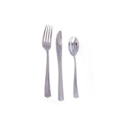 162 Plastic Silver Cutlery Set (54 Spoon 54 Knife 54 Fork) Party Wedding Birthday Catering Food Dinner Lunch