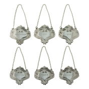 Silver Engraved Fancy Floral Decanter Labels Liquor Bottle Label Tag Set/6 Tags